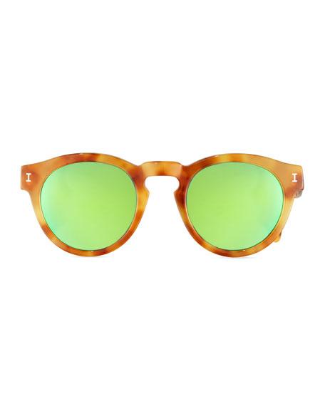 Leonard Mirrored Round Sunglasses, Blonde Havana/Green
