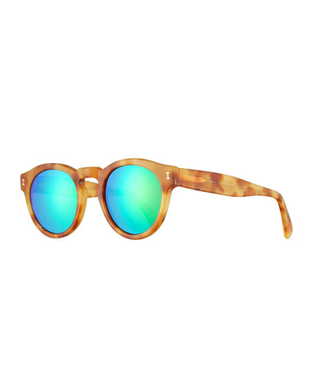 Illesteva Leonard Mirrored Round Sunglasses, Blonde Havana/Green