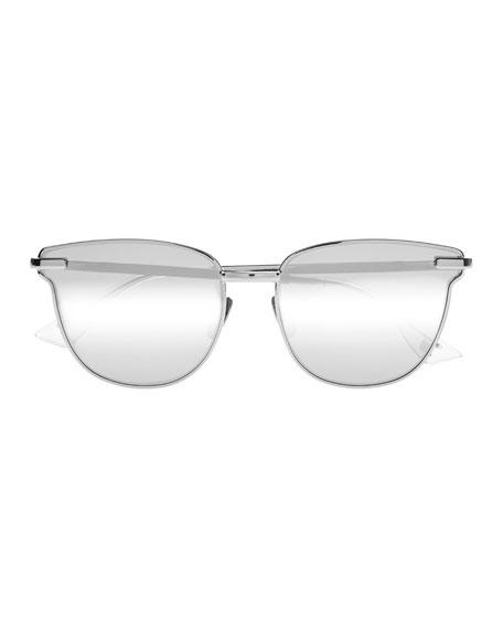 Pharaoh Square Mirrored Sunglasses, Silver