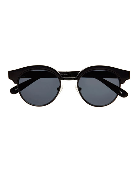 Cleopatra Monochromatic Semi-Rimless Sunglasses, Black