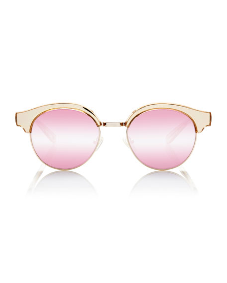 Cleopatra Mirrored Semi-Rimless Sunglasses, Pink