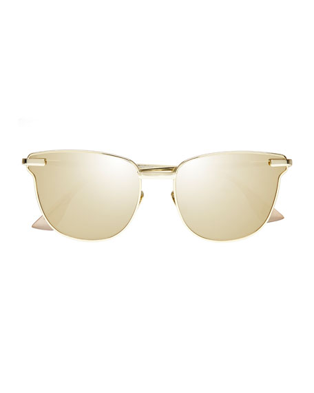 Pharaoh Square Mirrored Sunglasses, Gold