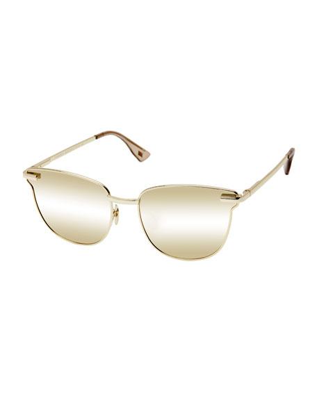 Pharaoh Square Mirrored Sunglasses, Gold