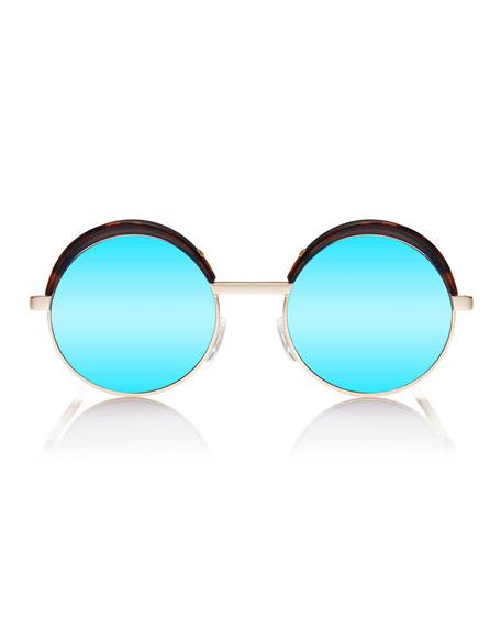 Jester Mirrored Round Metal Sunglasses, Gold