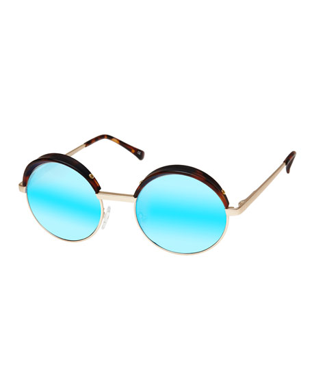 Le Specs Luxe Jester Mirrored Round Metal Sunglasses,