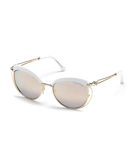 Roberto Cavalli Capped Metal Butterfly Sunglasses, Gold