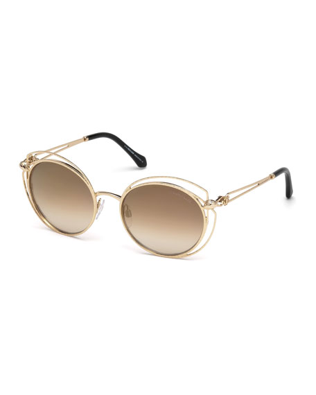 Roberto Cavalli Open-Inset Metal Butterfly Sunglasses, Rose Gold