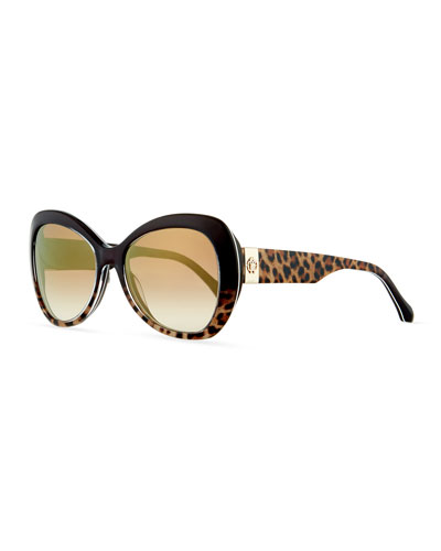Two-Tone Leopard-Print Butterfly Sunglasses, Brown