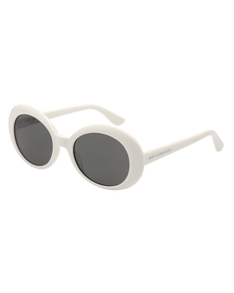 Monochromatic Oval Sunglasses, Ivory