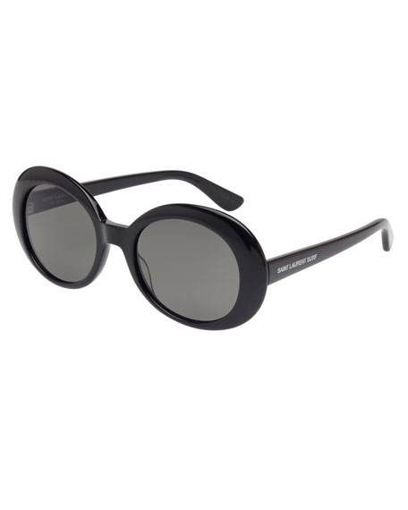 Monochromatic Oval Sunglasses, Black