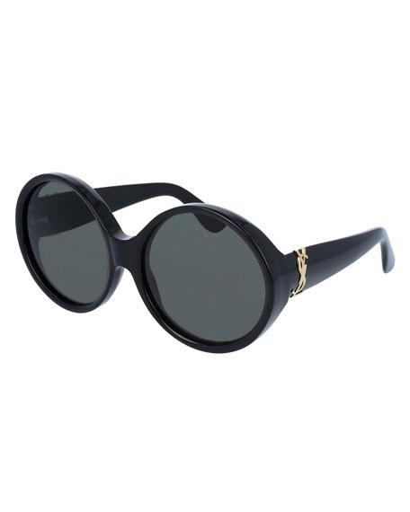 Round Chunky Monochromatic Sunglasses, Black