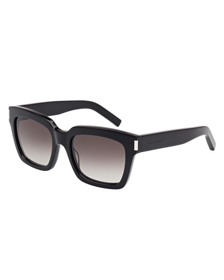Saint Laurent Gradient Square Sunglasses, Black