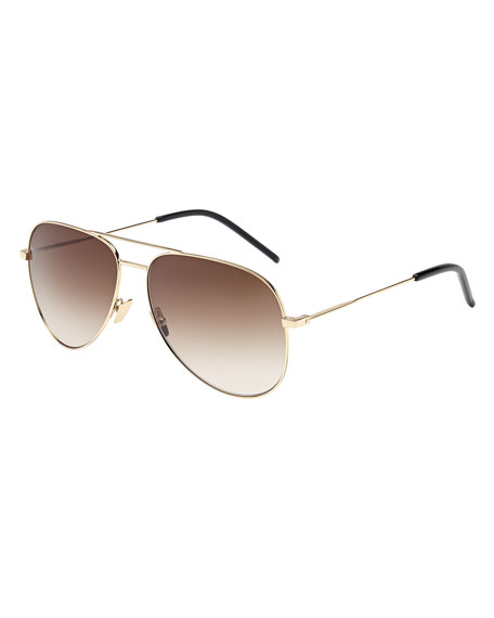 Saint Laurent Gradient Metal Aviator Sunglasses, Gold
