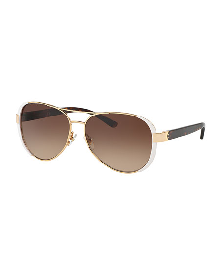 Tory Burch Capped Gradient Aviator Sunglasses, White