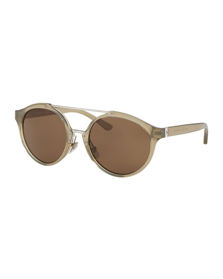 Monochromatic Round Double-Bridge Sunglasses