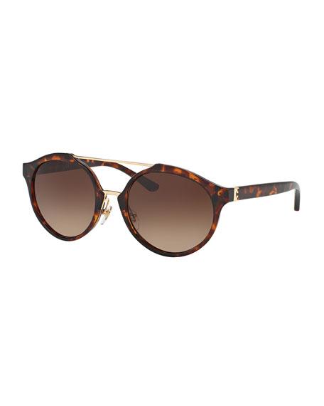 Gradient Round Double-Bridge Sunglasses, Brown Havana