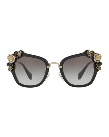 Gradient Embellished Square Sunglasses