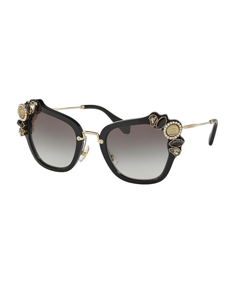 Miu Miu Gradient Embellished Square Sunglasses