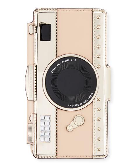 camera folio crossbody iPhone 7 case, cashew/gold