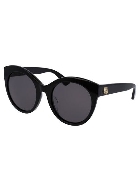 Monochromatic Oversized Rounded Cat-Eye Sunglasses, Black