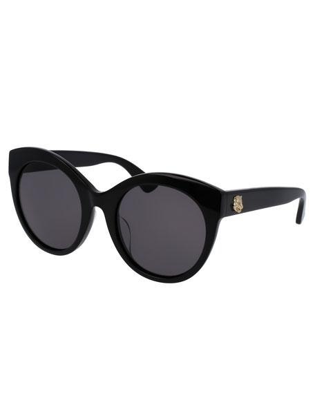 Black Cateye Sunglasses  gucci monochromatic oversized rounded cat eye sunglasses black