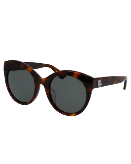Gucci Monochromatic Oversized Rounded Cat-Eye Sunglasses, Tortoise