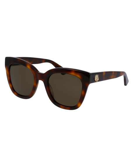 Monochromatic Cat-Eye Sunglasses, Tortoise