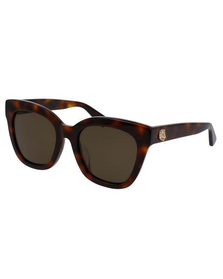 Gucci Monochromatic Universal-Fit Cat-Eye Sunglasses, Tortoise
