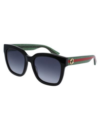 black aviator sunglasses 9k8u  Glittered Oversized Rectangular Universal-Fit Sunglasses, Black/Green/Red
