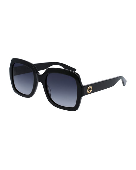 Gucci Classic Oversized Rectangular Sunglasses, Black