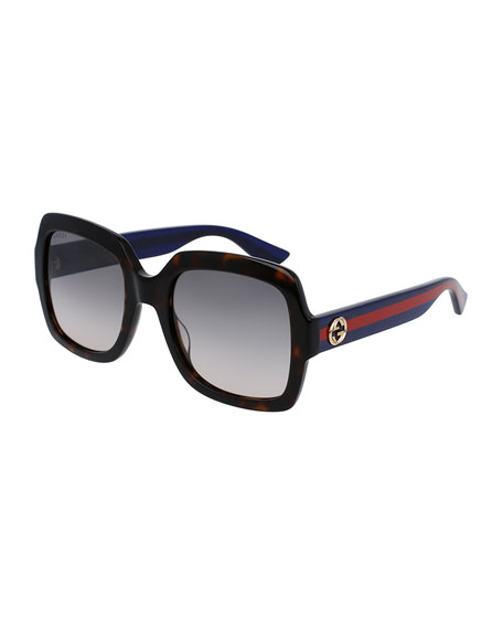 Gucci Classic Oversized Rectangular Sunglasses, Tortoise/Blue/Red