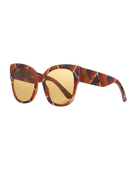 Oversized Round Sunglasses  gucci glittered oversized round sunglasses red green black