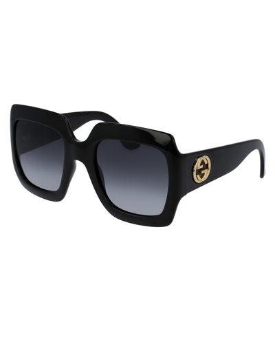 Oversized Square Sunglasses, Black