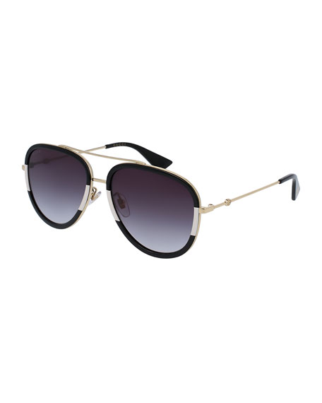 ray ban rose gold mirrored aviators gs3z  Gradient Web Aviator Sunglasses, Gold/Black/Ivory