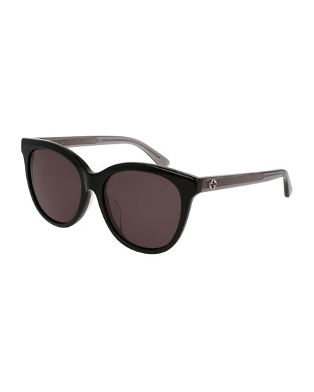 Monochromatic Square Two-Tone Acetate Sunglasses, Black