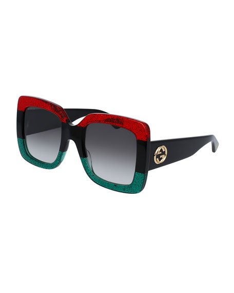 Glittered Gradient Oversized Square Sunglasses, Red/Black/Green