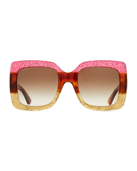Glittered Gradient Oversized Square Sunglasses, Fuchsia/Havana/Gold