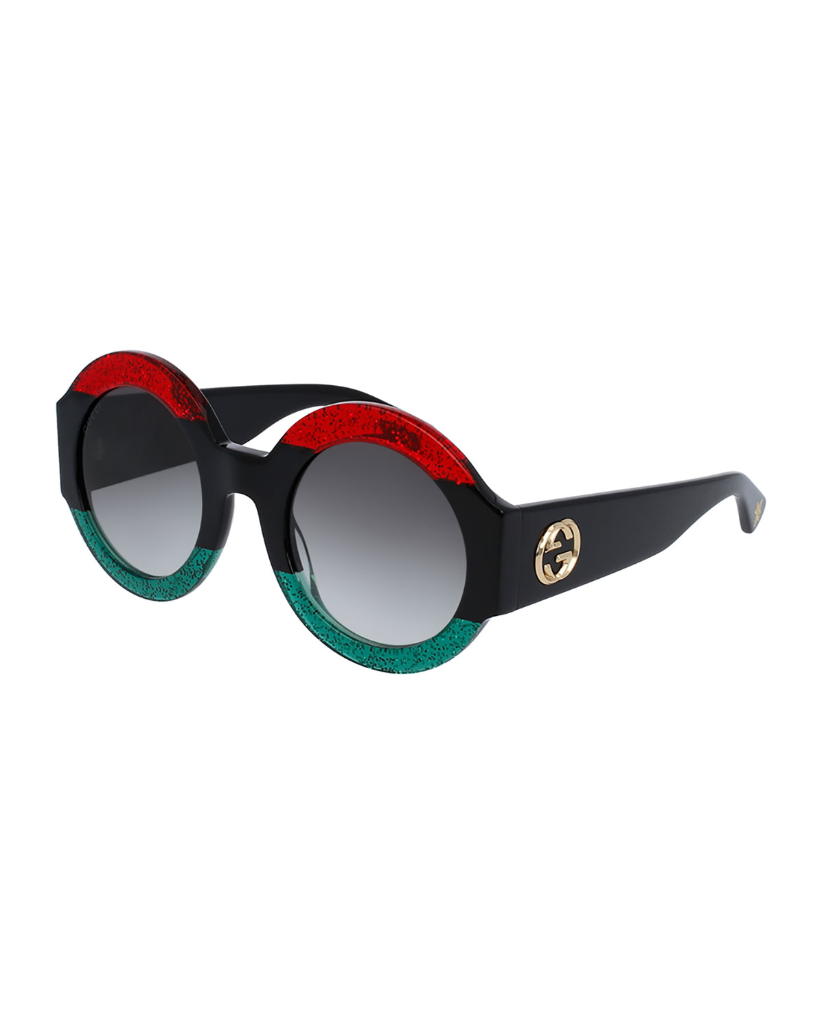 6e97ccded6 Gucci Glittered Oversized Round Sunglasses