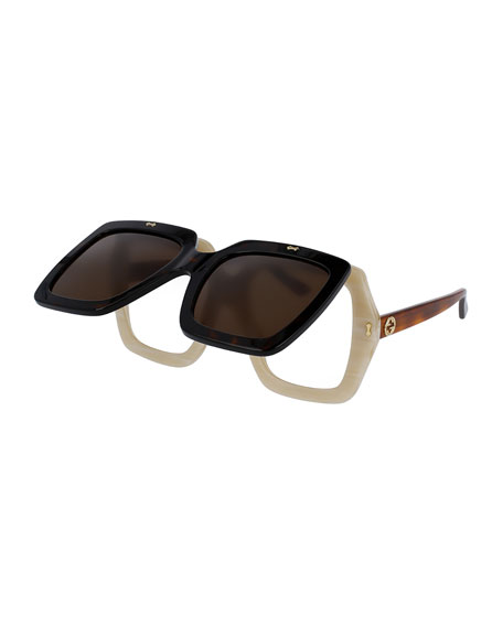Gucci Oversized Square Flip-Up Sunglasses, Brown