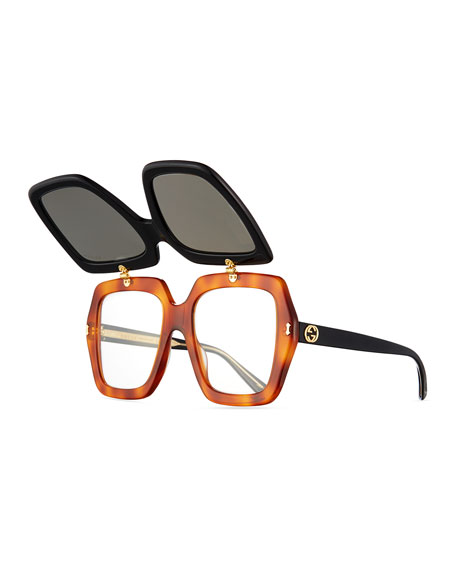 oversized flip-up sunglasses Gucci z34Le
