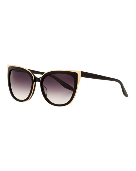 Winette Cat-Eye Sunglasses, Black/Gold Smolder
