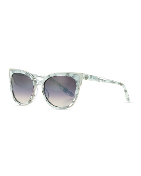 Barton Perreira Winette Gradient Cat-Eye Sunglasses, White