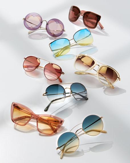 Universal Fit Aviatress Aviator Sunglasses, Champagne