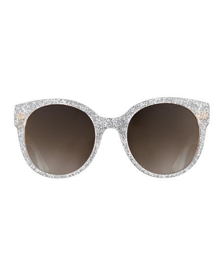 Glittered Round Sunglasses, Silver