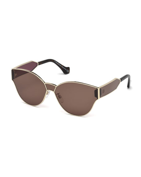 Balenciaga Monochromatic Shield Cat-Eye Sunglasses, Gold