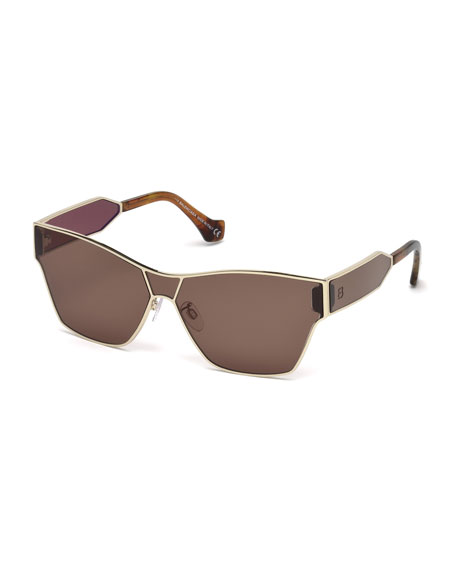 Balenciaga Metal Monochromatic Shield Sunglasses, Gold/Brown