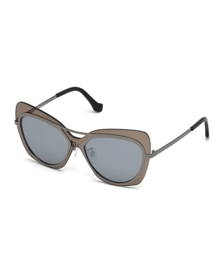 Balenciaga Gradient Metal Squared Aviator Sunglasses, Brown/Gray