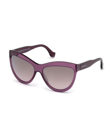 Balenciaga Gradient Flash Cat-Eye Sunglasses, Dark Purple