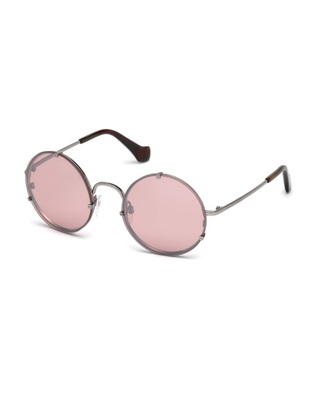 Round Monochromatic Metal Sunglasses, Light Ruthenium/Brown