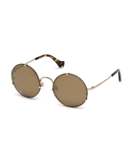 Round Monochromatic Metal Flash Sunglasses, Pale Gold/Havana